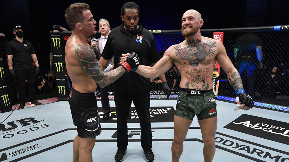 Dustin Poirier and Conor McGregor shared a friendly exchange after their UFC 247 bout. (Photo by Jeff Bottari/Zuffa LLC)