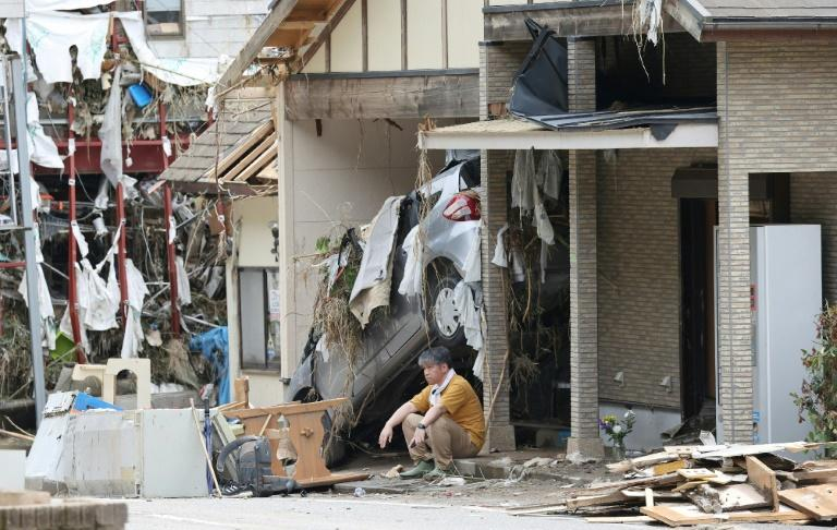 Rains have inflicted widespread damage across  southwest Japan, causing rivers to burst their banks and hillsides to collapse