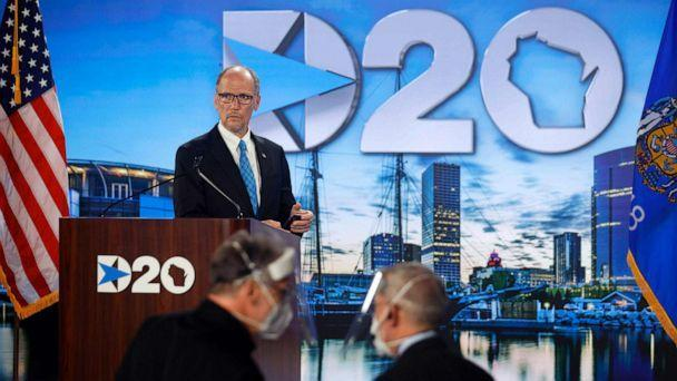 PHOTO: Democratic National Committee Chairman Tom Perez stands at the podium as he prepares to address the second day of the Democratic National Convention, being held virtually amid the novel coronavirus pandemic, in Milwaukee, Aug. 18, 2020. (Brian Snyder/Pool via AFP/Getty Images)
