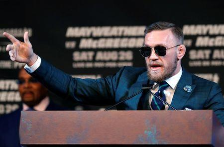 FILE PHOTO: UFC lightweight champion Conor McGregor of Ireland speaks during a news conference in Las Vegas, Nevada U.S. on August 23, 2017. REUTERS/Las Vegas Sun/Steve Marcus