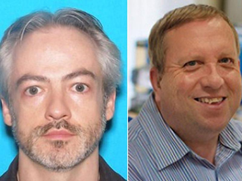 Prof Wyndham Lathem (L), 42, and Andrew Warren (R), 56, are wanted with first-degree murder by Chicago police: EPA