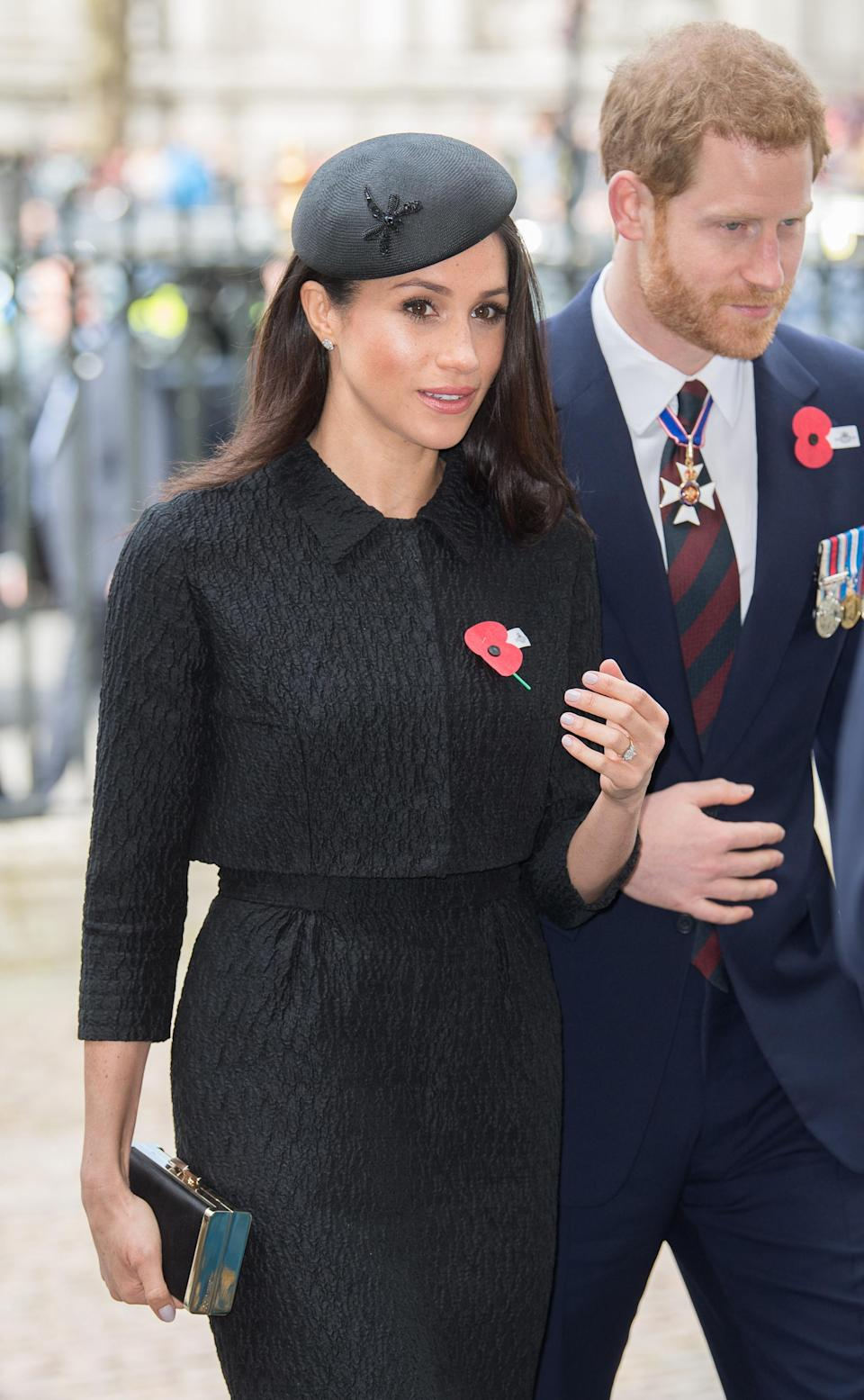 <p>Meghan wore a hat by famed milliner, Philip Treacy. Treacy is the go-to designer for both royals and celebrities. Kate Middleton, Sarah Jessica Parker and Lady Gaga are fans. </p>