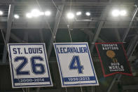The Toronto Raptors 2019 World Championship banner hangs along with former Tampa Bay Lightning players Martin St. Louis and Vincent Lecavalier in the rafters at Amalie Arena before an NBA preseason basketball game between the Raptors and the Miami Heat Friday, Dec. 18, 2020, in Tampa, Fla. The Raptors are playing their home games in Tampa as a result of Canada's strict travel regulations stemming from the coronavirus pandemic. (AP Photo/Chris O'Meara)
