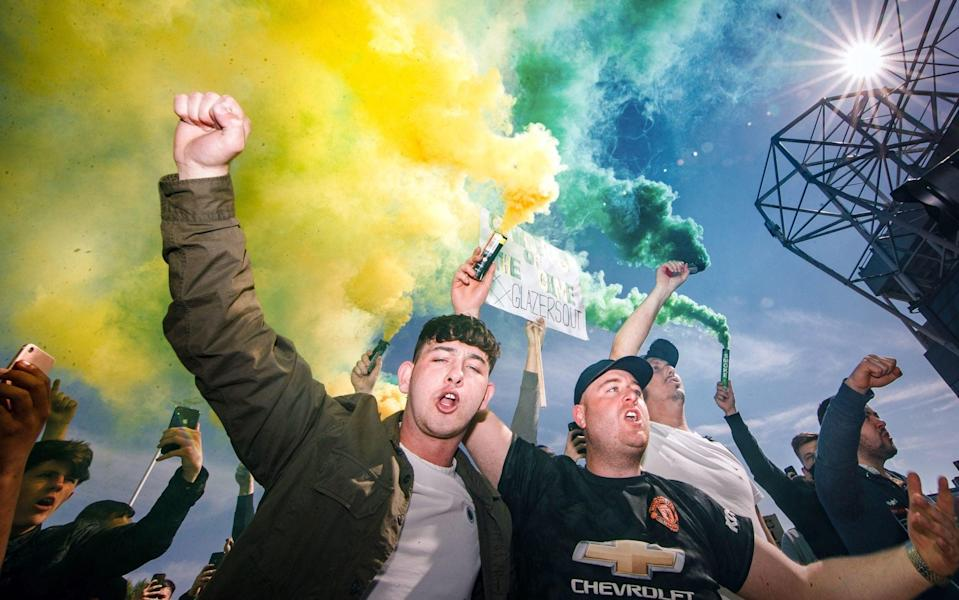 United supporters protest outside Old Trafford - - PA