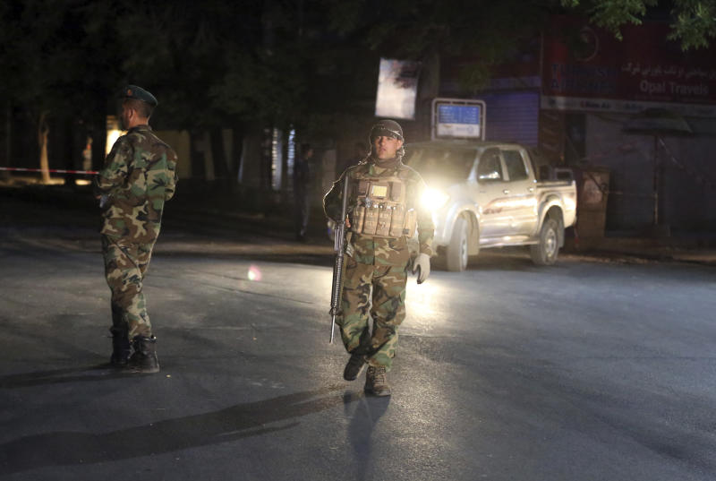 Afghan security forces arrive at the site of a bombing in a mosque in Kabul, Afghanistan, Tuesday, June 2, 2020. Tariq Arian, spokesman for the Afghan interior ministry says the the attack has taken place inside the compound of Wazir Akber Khan Mosque on the Tuesday evening. (AP Photo/Rahmat Gul)