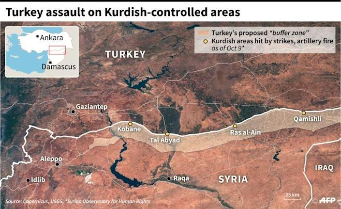 """Map of the border area between Turkey and Syria where Ankara launched an offensive against the Kurds to create a """"buffer zone"""". (AFP Photo/Patricio ARANA)"""