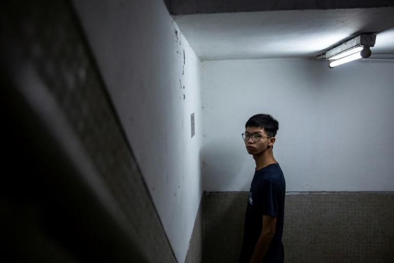 Tony Chung in the stairwell where he says police from the national security unit took him after he was detained