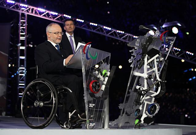 LONDON, ENGLAND - AUGUST 29: Sir Philip Craven MBE speaks during the Opening Ceremony of the London 2012 Paralympics at the Olympic Stadium on August 29, 2012 in London, England. (Photo by Dan Kitwood/Getty Images)
