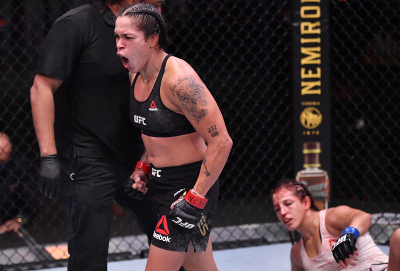 LAS VEGAS, NEVADA - JUNE 06: Amanda Nunes of Brazil reacts after the conclusion of her UFC featherweight championship bout against Felicia Spencer of Canada during the UFC 250 event at UFC APEX on June 06, 2020 in Las Vegas, Nevada. (Photo by Jeff Bottari/Zuffa LLC)