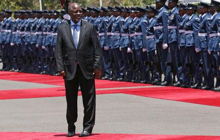 FILE PHOTO: Tanzanian President John Magufuli leaves after inspecting a guard of honour during an official visit to Kenya