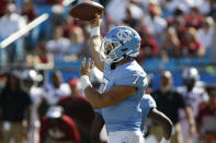 North Carolina quarterback Sam Howell passes against South Carolina in the first half of an NCAA college football game in Charlotte, N.C., Saturday, Aug. 31, 2019. (AP Photo/Nell Redmond)