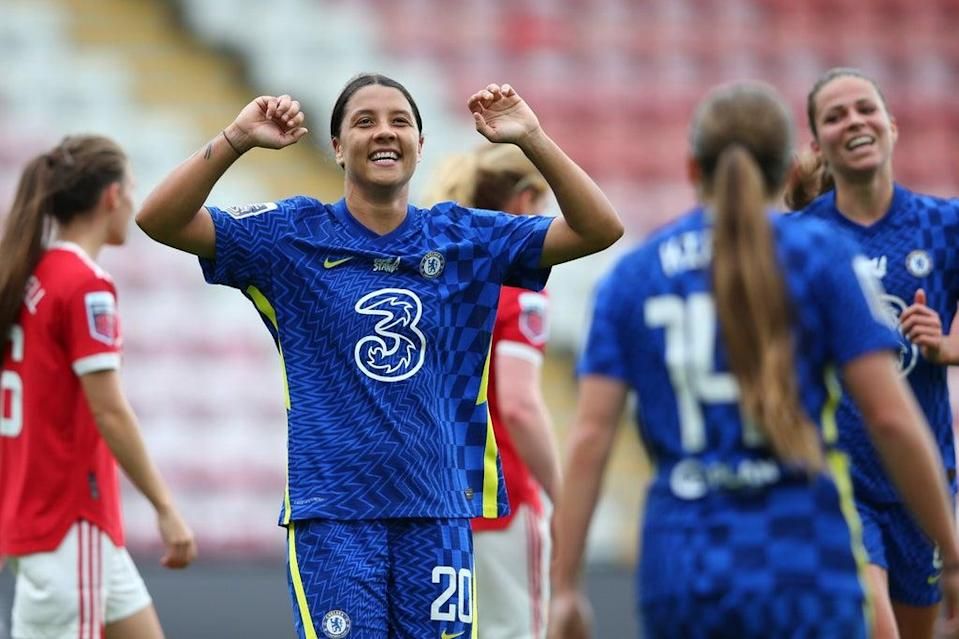 Sam Kerr scored twice as Chelsea thrashed Manchester United in the WSL  (Getty Images)