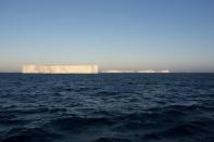 The A-68a iceberg is seen from the bridge of the research ship RRS James Cook in Antarctica