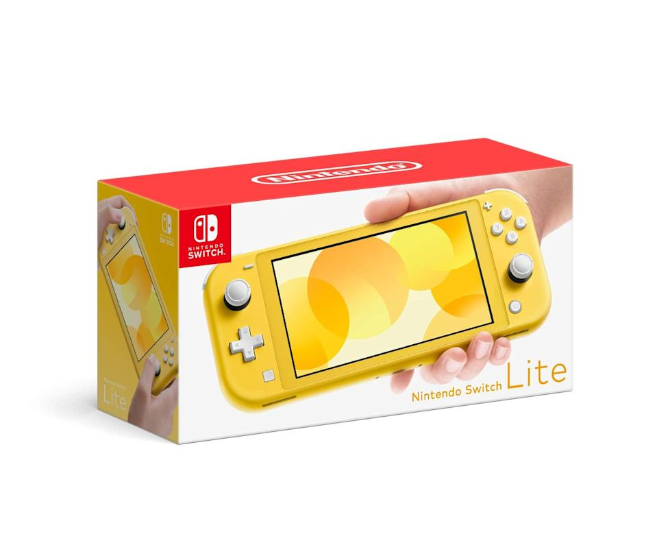 """<h2>Nintendo Switch Lite Console</h2><br>If you're anything like us, you spent lunch playing your Nintendo DS under the table. Enter: the adult-appropriate version. Have we mentioned how fun it is to play <a href=""""https://www.amazon.com/Animal-Crossings-New-Horizons-Standard/dp/B07SR1BRN5"""" rel=""""nofollow noopener"""" target=""""_blank"""" data-ylk=""""slk:Animal Crossing"""" class=""""link rapid-noclick-resp"""">Animal Crossing</a> on these? <br><br><strong>Nintendo</strong> Switch Lite, $, available at <a href=""""https://amzn.to/2TNMXoi"""" rel=""""nofollow noopener"""" target=""""_blank"""" data-ylk=""""slk:Amazon"""" class=""""link rapid-noclick-resp"""">Amazon</a>"""