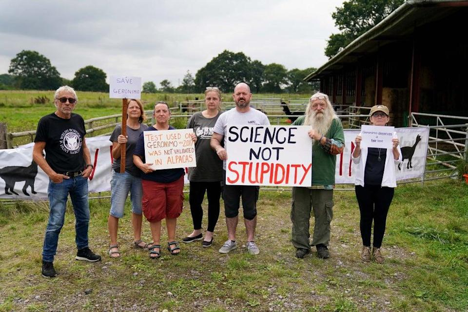 Supporters are camping out at Helen Macdonald's farm in South Gloucestershire (Jacob King/PA) (PA Wire)