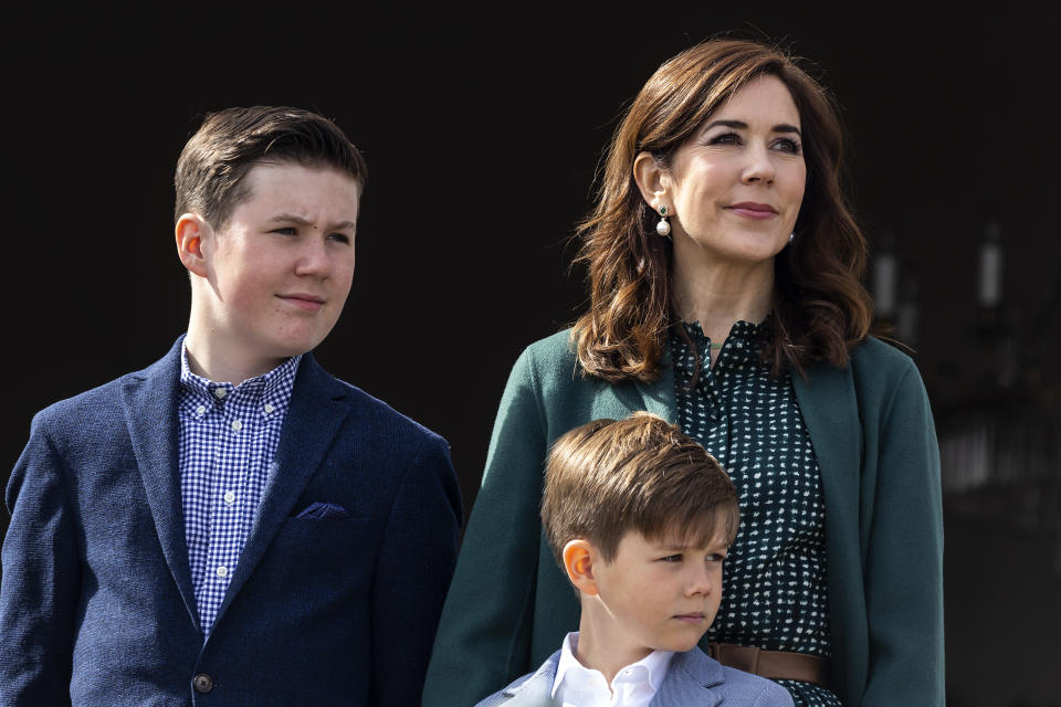 Crown Princess Mary together with Prince Vincent (C) and Prince Christian at the veranda on Marselisborg Castle during changing of the guard on the occasion of the 79 years birthday of Queen Margrethe on April 16, 2019 in AArhus, Denmark. Mraselisborg Castle has been the Queens summer residence since 1967. There is a 13 hectare park to the residence which is open to the public when the Queen is not present.