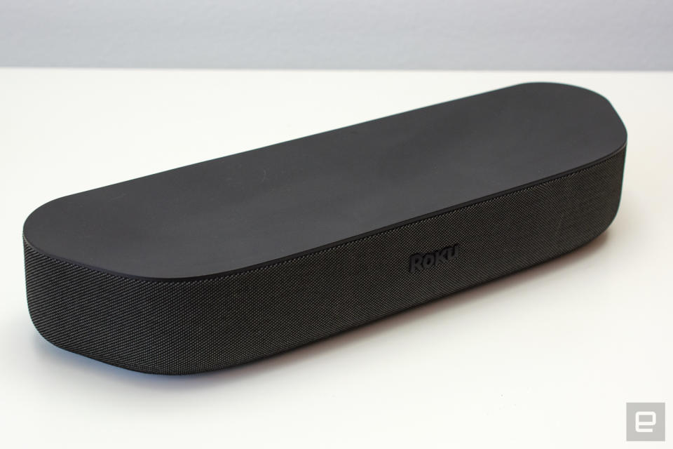 Roku Streambar soundbar on a white table.