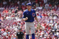 Chicago Cubs starting pitcher Adrian Sampson stands on the mound during the first inning of a baseball game against the Cincinnati Reds in Cincinnati, Wednesday, Aug. 18, 2021. (AP Photo/Jeff Dean)