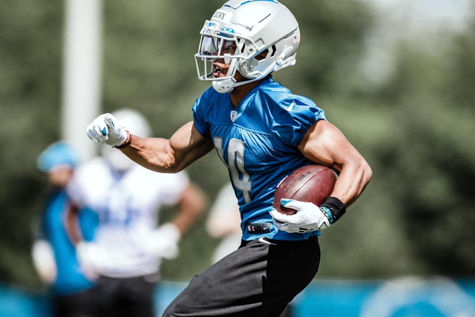 Amon-Ra St. Brown, a rookie receiver from Southern Cal, practices during Detroit Lions rookie minicamp on Sunday, May 16, 2021 in Allen Park.