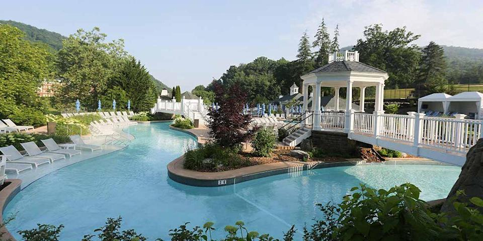 """<p>Located in Hot Springs, Virginia, <a href=""""https://go.redirectingat.com?id=74968X1596630&url=https%3A%2F%2Fwww.tripadvisor.com%2FHotel_Review-g57835-d116018-Reviews-The_Omni_Homestead_Resort-Hot_Springs_Virginia.html&sref=https%3A%2F%2Fwww.redbookmag.com%2Fabout%2Fg34149750%2Fmost-historic-hotels%2F"""" rel=""""nofollow noopener"""" target=""""_blank"""" data-ylk=""""slk:The Omni Homestead Resort"""" class=""""link rapid-noclick-resp"""">The Omni Homestead Resort</a>, dating all the way back to 1766, was built on land that contained seven natural mineral springs (Thomas Jefferson came for a soak in 1818). Today, the Homestead is a full-service resort with everything from golf courses to zip lines, as well as a spa with thermal treatments. </p>"""