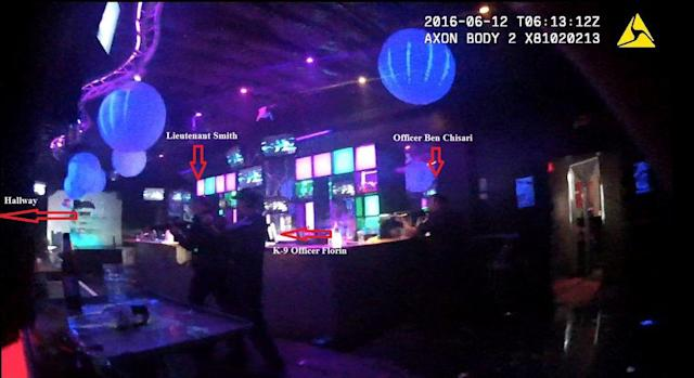 <p>Orlando Police officers enter the Pulse Nightclub, where Omar Mateen killed 49 people, in Orlando, Florida, U.S. as pictured in this image released as part of a briefing document by the Orlando Police on April 13, 2017. (Orlando Police/Handout via REUTERS) </p>