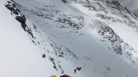 Climbers walk towards camp four from camp three at Everest