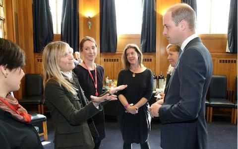 Fiona Phillips talking to Prince William at a screening to launch BBC mental health season in April 2017 - Credit: REX/Shutterstock