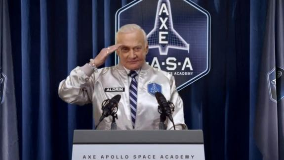 Buzz Aldrin salutes the camera in this still from a promotional video for the AXE Space Academy, a contest that aims to launch 22 winners on suborbital flights aboard XCOR Aerospace's Lynx spacecraft.