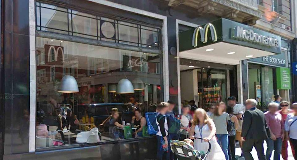 The outside of a McDonald's restaurant in Dublin.