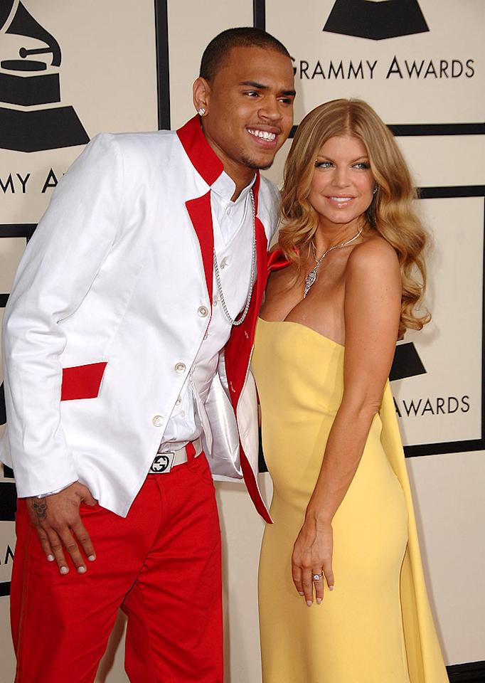 "Fergie and her fabulous frock should both be embarrassed to be seen near the ridiculously-dressed Chris Brown. Steve Granitz/<a href=""http://www.wireimage.com"" target=""new"">WireImage.com</a> - February 10, 2008"