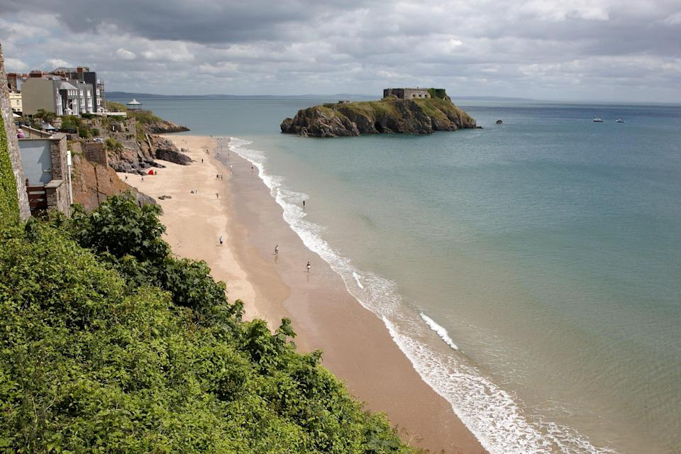 Tenby beach and island, where police say a man was saved after jumping into the sea (Getty Images/iStockphoto)