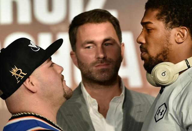 Andy Ruiz and Anthony Joshua face off ahead of their rematch in Saudi Arabia on Saturday (AFP Photo/FAYEZ NURELDINE)