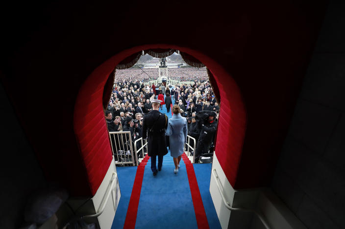 <p>Melania Trump arrives on Capitol Hill in Washington, Friday, Jan. 20, 2017, for the presidential inauguration of her husband, Donald Trump. (Doug Mills/Pool Photo via AP) </p>
