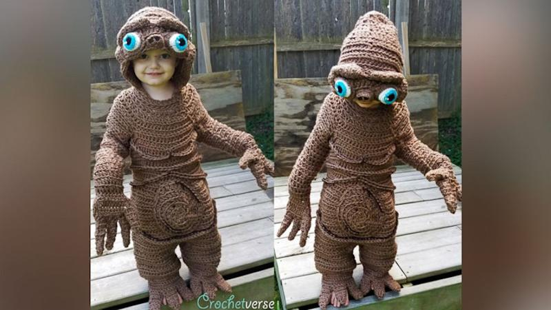 Toddler's Mom Crochets Perfect ET Halloween Costume By Hand
