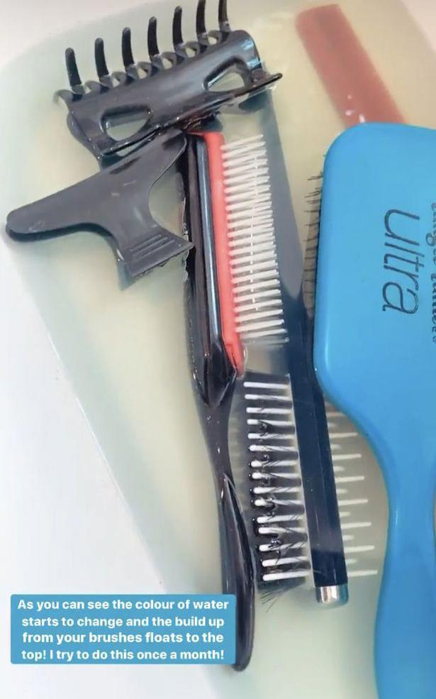 Hairbrushes in dirty water