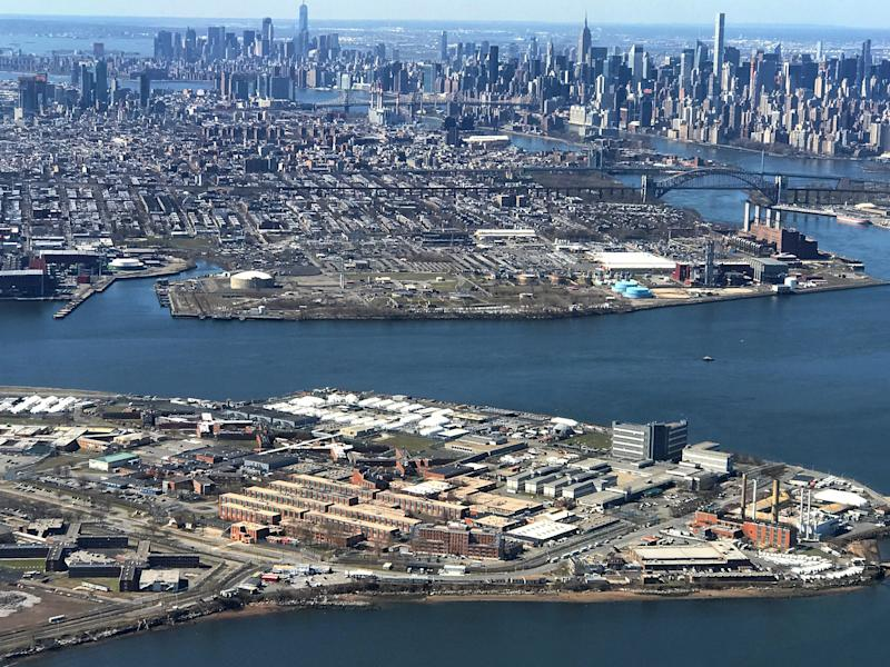 The Rikers Island Prison complex (foreground) is seen from an airplane in the Queens borough of New York City