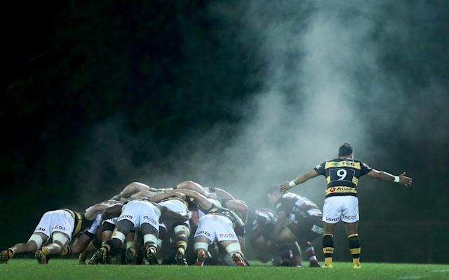 Steam rises from the scrum during the round three Mitre 10 Cup match between Counties Manukau and Taranaki - RFU working on plans for no scrums or tackles and shorter matches in post-lockdown grass-roots plan - GETTY IMAGES