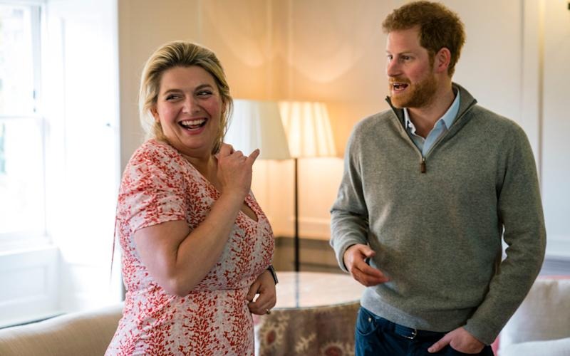 Picture shows Bryony Gordon and Prince Harry meeting to do a podcast interview.