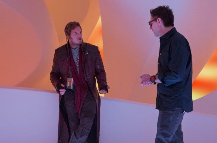 James Gunn (right) directing Chris Pratt on the set of 'Guardians of the Galaxy Vol 2' (credit: Marvel Studios)