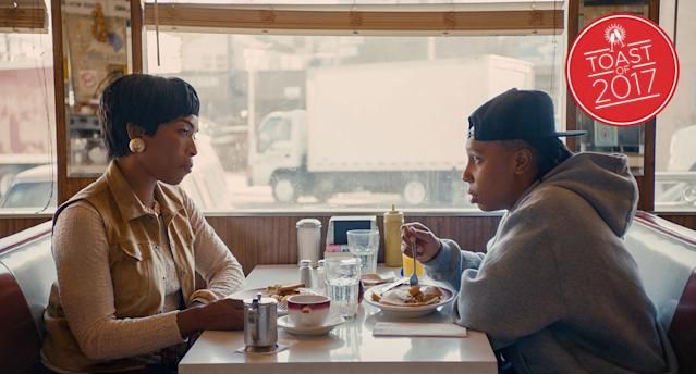 "Angela Bassett and Lena Waithe in the ""Thanksgiving"" episode of <em>Master of None</em>. (Photo: Netflix/courtesy of Everett Collection)"