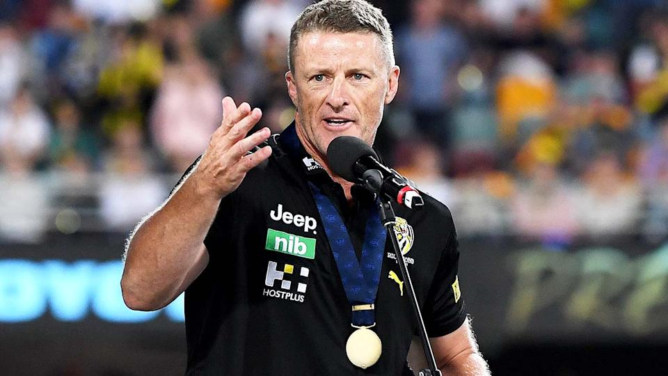 Damien Hardwick, pictured here after the 2020 AFL Grand Final between Richmond and Geelong.