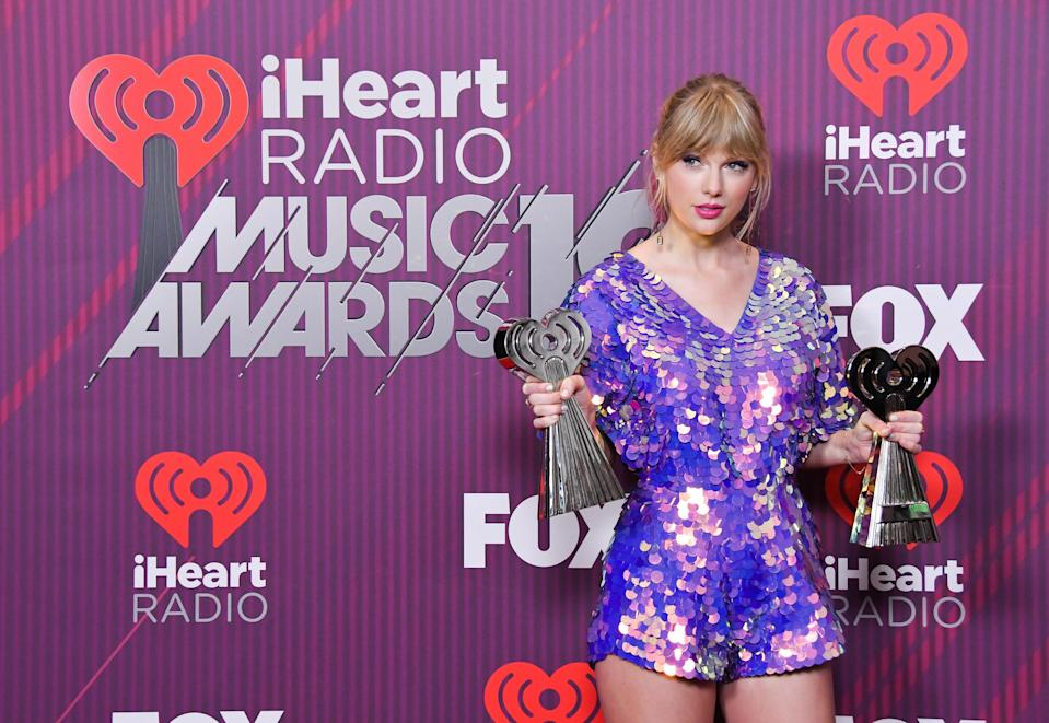 Taylor Swift poses in the press room during the 2019 iHeartRadio Music Awards held at Microsoft Theater on March 14, 2019 in Los Angeles, CA, USA (Photo by Sthanlee B. Mirador/Sipa USA)