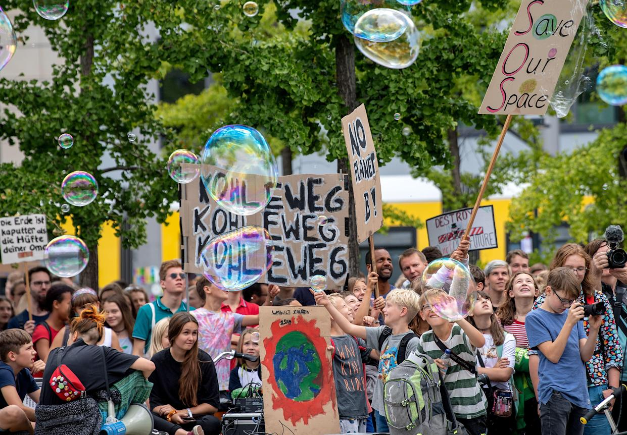 "Young demonstrators take part in a ""Fridays for Future"" protest for climate action on August 16, 2019 in Berlin. Credit: Monika Skolimowska/AFP/Getty Images."