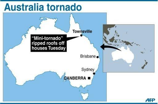 Map showing Townsville in Australia where a tornado ripped roofs off houses, flipped cars and brought down powerlines, on Tuesday