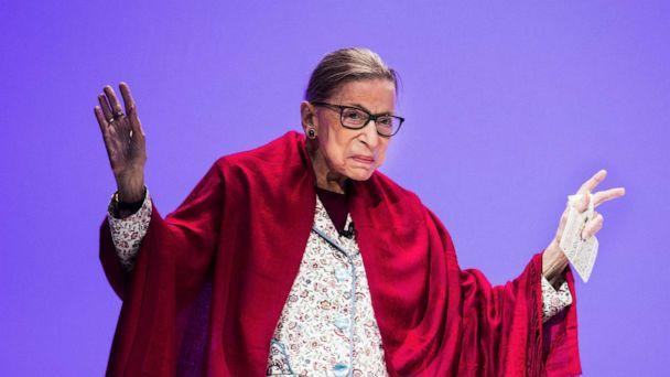 PHOTO: Supreme Court Justice Ruth Bader Ginsburg walks on the stage at Amherst College in Amherst, Mass., Oct. 3, 2019. (Boston Globe via Getty Images, FILE)