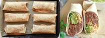 """<p>A big batch of these simple burritos doesn't take long to make, and you can refrigerate or freeze them for grab-and-go lunches throughout the week. Get the recipe <a href=""""http://www.yummymummykitchen.com/2017/03/healthy-make-ahead-burritos.html?mbid=synd_yahoofood"""" rel=""""nofollow noopener"""" target=""""_blank"""" data-ylk=""""slk:here"""" class=""""link rapid-noclick-resp"""">here</a>.</p><p><b>Per burrito:</b> <em>507 calories, 19 grams protein</em></p>"""