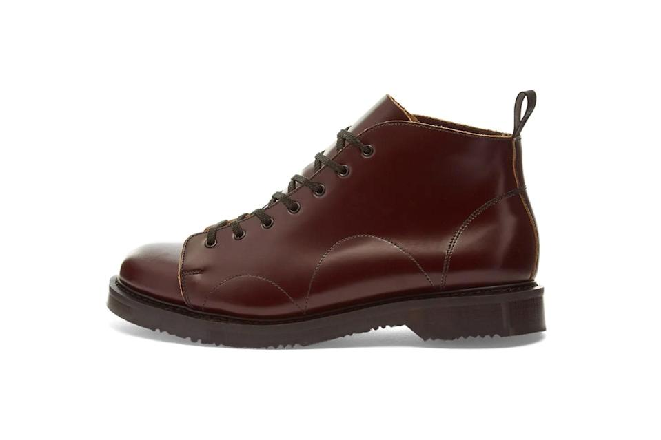 """$169, End Clothing. <a href=""""https://www.endclothing.com/us/fred-perry-x-george-cox-leather-monkey-boot-sb5372-158.html"""" rel=""""nofollow noopener"""" target=""""_blank"""" data-ylk=""""slk:Get it now!"""" class=""""link rapid-noclick-resp"""">Get it now!</a>"""