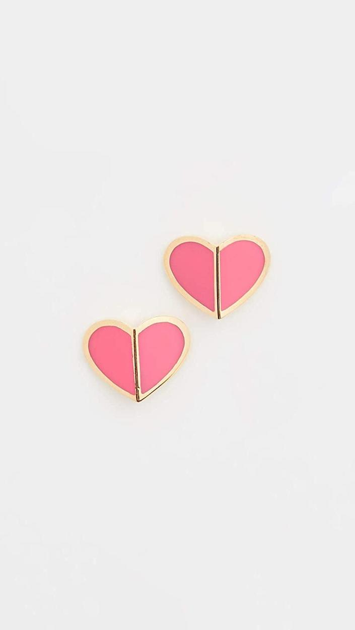 <p>Available in six colors, these <span>Kate Spade Heritage Spade Heart Earrings</span> ($48) are simply love at first sight.</p>