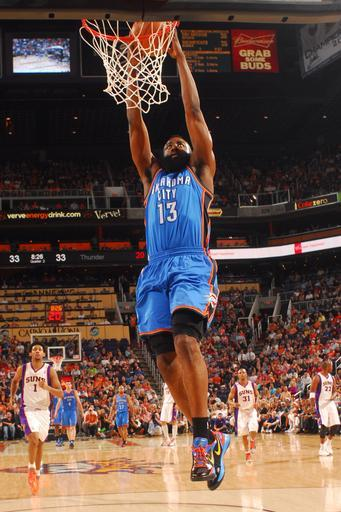 PHOENIX, AZ - APRIL 18: James Harden #13 of the Oklahoma City Thunder dunks against the Phoenix Suns on April 18, 2012 at U.S. Airways Center in Phoenix, Arizona. (Photo by Barry Gossage/NBAE via Getty Images)