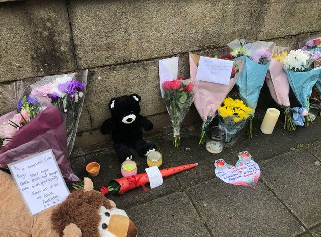 Floral tributes have been left at the scene after the tragedy